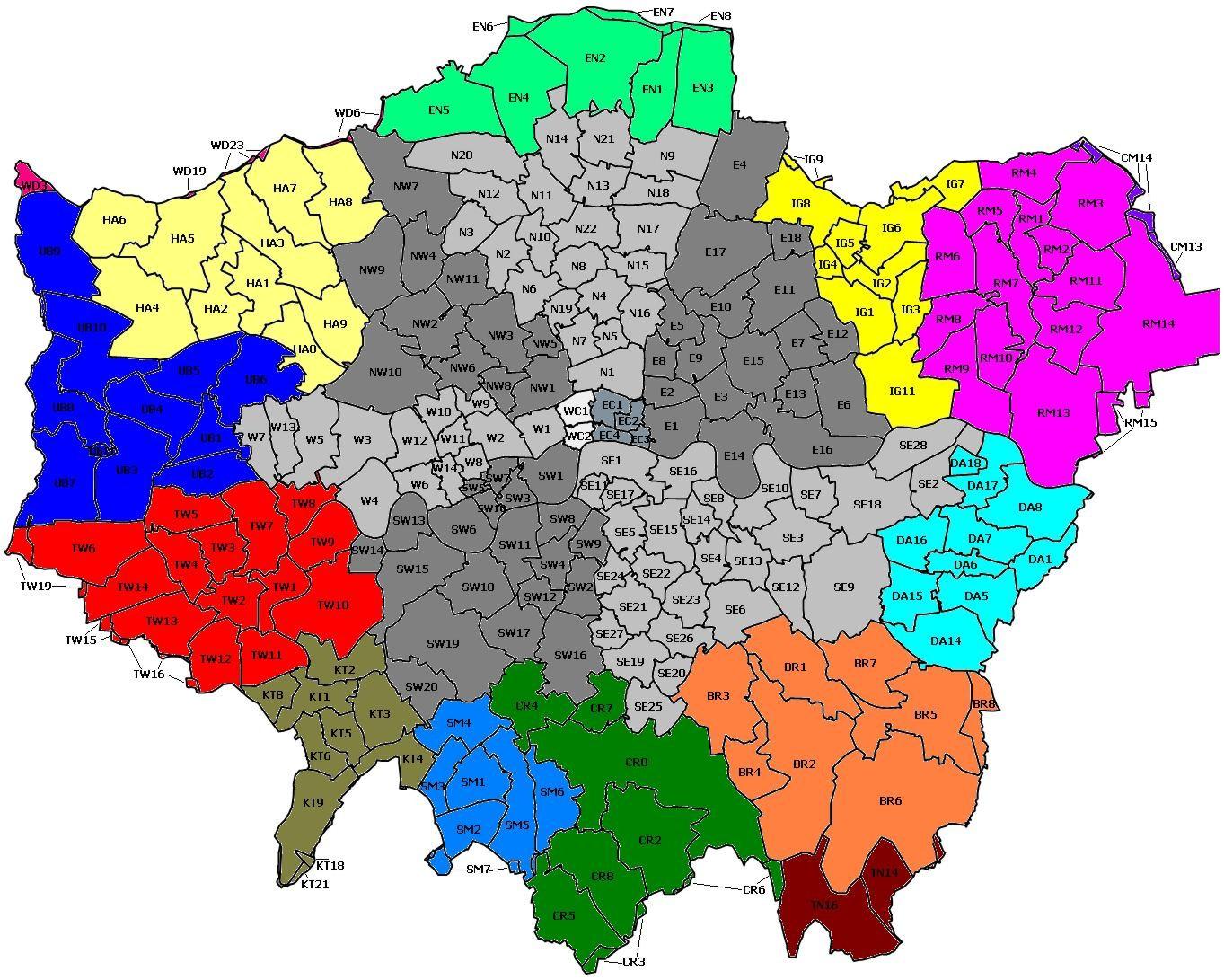 London Uk Postcode Map.Outer London